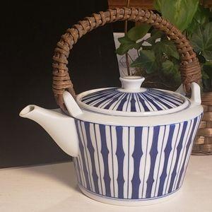 Vintage blue and white asian porcelain teapot